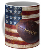 Old Football On American Flag Coffee Mug by Garry Gay