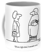 Old Lady Talks To A Beefy Quarterback Holding Coffee Mug