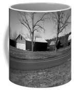 Old Red Barn In Black And White Coffee Mug