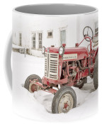 Old Red Tractor In The Snow Coffee Mug