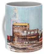 Old Rustic Schnitzer Steel Building With Crane And Ship Coffee Mug by Asha Carolyn Young