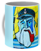 Old Sailor With Pipe Expressionist Portrait Coffee Mug