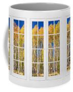 Old Triple16 Pane White Window Colorful Autumn Aspen Forest View Coffee Mug