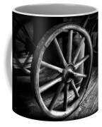 Old Wagon Wheel Black And White Coffee Mug