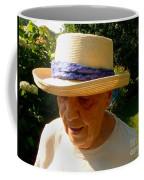 Old Woman Wearing Straw Hat Coffee Mug