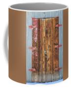 Old Wood Door With Six Red Hinges Coffee Mug