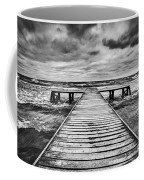 Old Wooden Jetty During Storm On The Sea Coffee Mug