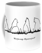 One Chicken Speaks To Several Others On A Patch Coffee Mug