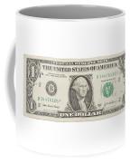 One Dollar Bill On White Background Coffee Mug