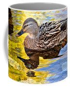 One Leaf Two Ducks Coffee Mug by Frozen in Time Fine Art Photography