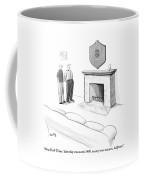 One Man Shows Off A Framed Crossword Coffee Mug