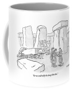 One Mans Shows A Stone Tablet With Tally Marks Coffee Mug by Robert Leighton