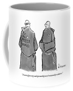 One Monk Speaks To Another. One Of The Monks' Coffee Mug