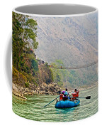 One Of Many Suspension Bridges Crossing The Seti River In Nepal Coffee Mug