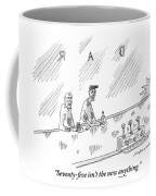 One Old Man Drinking At A Bar Speaks To Another Coffee Mug