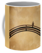 One Pigeon Perched On A Metallic Arch. Coffee Mug