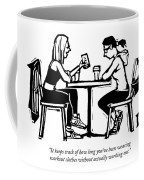 One Woman In Workout Clothes Shows A Phone App Coffee Mug