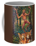 Only A Crazy Monkey Dances On A Tiger's Head Coffee Mug by James W Johnson
