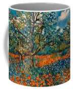Orange And Blue Flower Field Coffee Mug