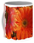 Orange Daisies Painterly With Border Coffee Mug