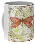 Orange Dragonfly On Vintage Tin Coffee Mug