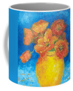 Orange Poppies In Yellow Vase Coffee Mug