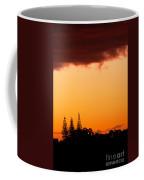 Orange Sunset And Silhouettes Of Norfolk Pines Coffee Mug