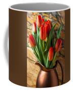 Orange Tulips In Copper Pitcher Coffee Mug