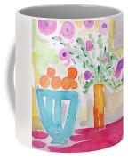 Oranges In Blue Bowl- Watercolor Painting Coffee Mug