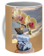 Orchids And Pebbles On Sand Coffee Mug