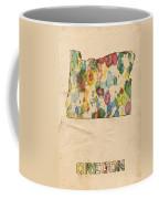 Oregon Map Vintage Watercolor Coffee Mug