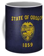 Oregon State Flag Art On Worn Canvas Coffee Mug