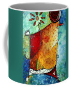 Original Abstract Pop Art Style Colorful Landscape Painting Home To Tuscany By Megan Duncanson Coffee Mug