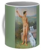 Original Classic Oil Painting Man Body Art-male Nude And Dogs #16-2-4-11 Coffee Mug