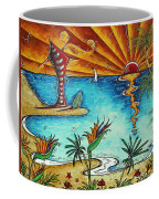Original Coastal Surfing Whimsical Fun Painting Tropical Serenity By Madart Coffee Mug