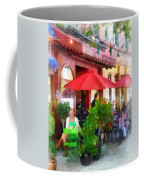 Outdoor Cafe With Red Umbrellas Coffee Mug
