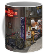 Outside The Motorcycle Shop Coffee Mug