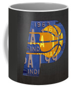 Pacers Basketball Team Logo Vintage Recycled Indiana License Plate Art Coffee Mug