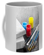 Paintbrushes With Canvas Coffee Mug