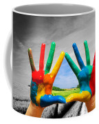 Painted Colorful Hands Showing Way To Colorful Happy Life Coffee Mug