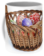 painted Easter Eggs in wicker basket Coffee Mug