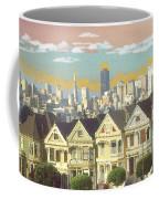 San Francisco Alamo Square - Watercolor Illustration Coffee Mug