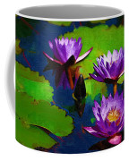 Painted Purple Water Lilies Coffee Mug