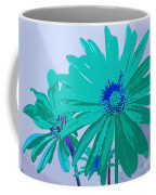 Painterly Flowers In Teal And Blue Pop Art Abstract Coffee Mug