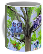 Painting Of Owls And Birds Nest In Tree Coffee Mug
