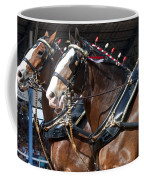 Pair Of Budweiser Clydesdale Horses In Harness Usa Rodeo Coffee Mug
