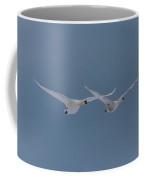 Pair Of Flying Swans Against A Blue Sky Coffee Mug