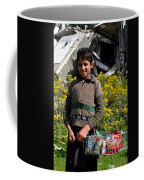 Pakistani Boy In Front Of Hotel Ruins In Swat Valley Coffee Mug