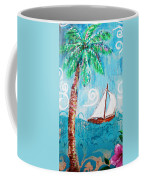 Palm Tree And Sailboat By Jan Marvin Coffee Mug