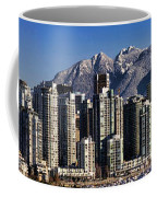 Pano Vancouver Snowy Skyline Coffee Mug by David Smith